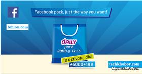 Grameenphone 20MB 1Tk Facebook Pack (with vat 1.5Tk)