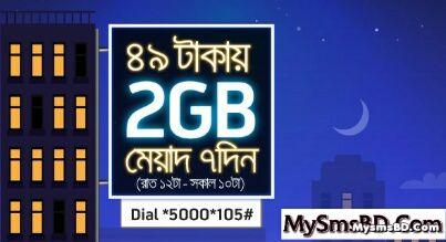 GP 2GB Night Pack Internet at 49 Tk with 7 days validity