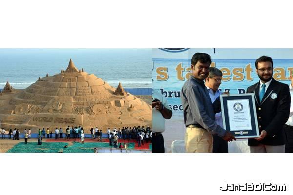 বালির দূর্গ বানিয়ে গিনেসবুকে ভারতীয় শিল্পী